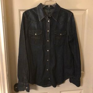 LAUREN denim jean western style shirt long sleeve